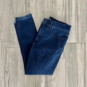 Express High Waisted Supersoft Raw Step Hem Jeans